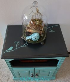 Old Things New: Turquoise Bedside Table with bird on branch on black top...love this!!!!