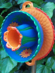 Old World Style Garden Art - Glass Plate Flower- Hand Painted in Orange, Blue  Green - Garden Decor - Garden Sculpture - Yard Art via Etsy