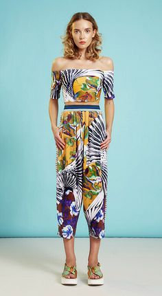 On The Prowl For Pattern! Clover Canyon Resort 2015 Off The Shoulder Crop Top Matching Harem Pants Mixed Prints Summer Trends
