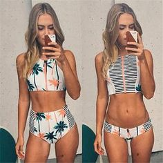 Print Floral Palm Tree Bikini Set,High Neck Tank Zipper Striped Swimsuit Padded Bra High Waist Swimwear - Stylish n Trendier - 1