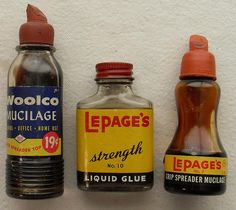 WOOLCO MUCILAGE LePages Liquid Glue Bottles Vintage 1960s by Christian Montone, via Flickr