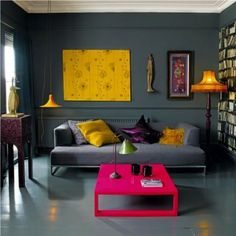 Living Room : Interior Living Room With Yellow Nuance Bookshelf Pink Coffee Table Modern Microfiber Sofa Yellow Cushions Tile Floor Ornaments Wall Table Lamp Curtains Funky Interior Living Room with Yellow Nuance Pendants' Microfiber' Modern and Living Rooms