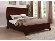Shop for Flexsteel Queen Sleigh Bed, W1904-91Q, and other Bedroom Beds at McCreerys Home Furnishings in Sacramento, Rancho Cordova and Roseville CA. The Downton group is a clean, transitional collection with simple architecture and multiple bed and mirror options. The curved style of the headboards and the rounded corners on accompanying pieces add a soft feel to this sleek collection.