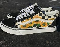 Sunflower Checkered Old Skool Vans | Hand Painted Shoes | Gifts for Her | Floral Painting | Custom Shoes | Shoes for Women | Shoes for Men