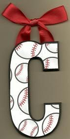 Baseball hanging letter-Cute & easy idea for a boys room. It would be fun to make one for the front door for the Texas Rangers...or whatever your favorite team may be.