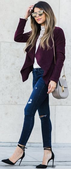 #fall #trending #outfits | Burgundy Jacket + Fall Basics