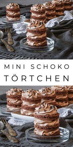 Mini Schoko Törtchen zum Geburtstag It doesn't always have to be a big cake. Baking Recipes, Cake Recipes, Dessert Recipes, Oreo Dessert, Mini Desserts, Mini Cakes, Cupcake Cakes, Mini Chocolate Cake, Yummy Cakes