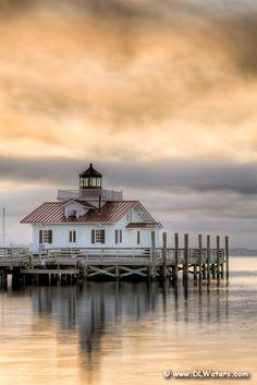 Roanoke Marshes Lighthouse at sunrise, Outer Banks, North Carolina