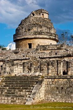 El Carcol, Chichen Itza, Tinum, Yucatan, Mexico:  Carocol means snail and is named for the spiral staircase inside the tower.  The structure is dated to around AD906, the Late Classic period of Mesoamerican chronology.  It may have been an ancient Mayan observatory building.