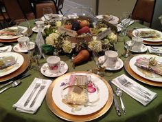 Fruit of the Spirit church tea table theme.  Lovely table ideas.