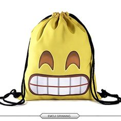 "Hellathund 3d emoji characters series Light Drawstring Bags Friday Printed Unisex Backpacks for kids( 12""(w)*15.5""(h)) (emoji grinning) * See this great product."