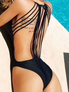 Sexy Scoop Collar Backless Solid Color Lace-Up One-Piece Women's Swimwear