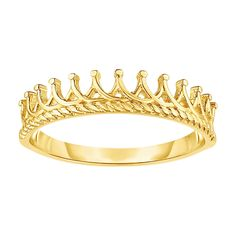 14K Gold Tiara Crown Design Ring, Size 7