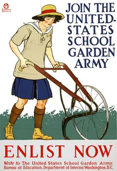 """WWI poster shows a girl with a plow and encourages youth to participate in the creation of """"war gardens"""" to take the pressure off the public food supply brought on by the war effort."""