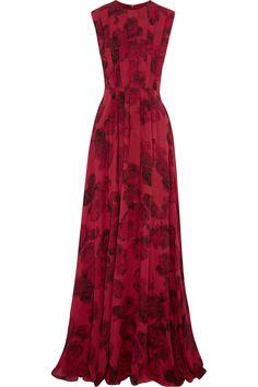 Giambattista Valli | Pleated floral-print silk-chiffon gown