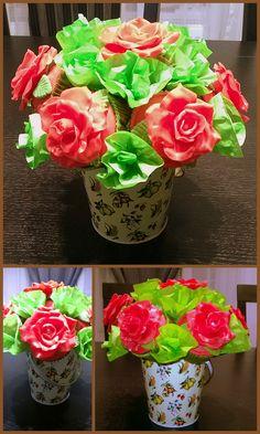 rose fondant cupcakes bouquet