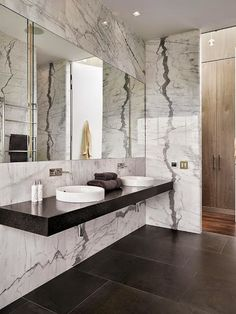 Marble Bath with Floating Vanity