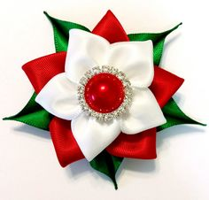 Flor de Pascua pelo Clip, arco del pelo de Navidad, pelo accesorios, arco del pelo de flores, chica pelo Clip