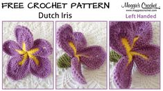 Dutch Iris Free Crochet Pattern: Shop worsted weight yarn here: Right-Handed Video: My mission is to help you master the art of crochet through these videos. Crochet Flower Tutorial, Crochet Flower Patterns, Crochet Stitches Patterns, Crochet Flowers, Stitch Patterns, Crochet Wool, Thread Crochet, Irish Crochet, Hand Crochet