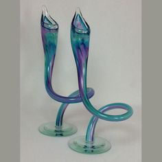 Hand blown glass candle stick holders #hudsonglass #michaelhudson #candlestickholders Glass Candlestick Holders, Glass Candlesticks, Michael Hudson, Jack In The Pulpit, Beautiful Candles, Hand Blown Glass, Awesome Art, Home Art, Sculpting