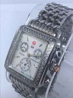Michele Deco Women's Watch MW06A01 Diamond Bezel Chronograph S\S W\ Box (N727) #Michele #DressFormal