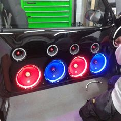 Custom fiberglass door panels with LED rope lights to accent the RoadThunder Extreme speakers.