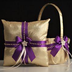 Purple Gold Bearer Purple Gold Wedding Pillow by AlexEmotions