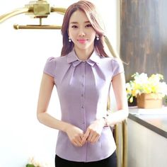 Online Shop High quality women office shirt OL Summer all-match slim fashion elegant short-sleeve cotton blouse plus size ladies tops Cute Blouses, Cotton Blouses, Plus Size Blouses, Blouses For Women, The Office Shirts, Vestidos Vintage, Office Fashion Women, Formal Shirts, Summer Outfits Women