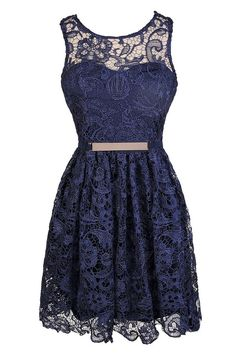 All Tied Up Tie Back Crochet Lace A-Line Dress in Navy  www.lilyboutique.com
