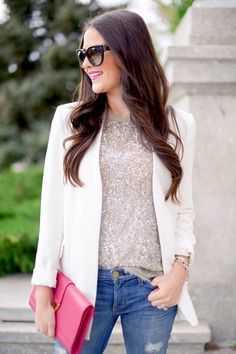 Pair casual items with dressy items. An embellished top, tailored blazer and /or heels paired with denim jeans,
