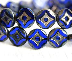 Coin beads, Czech picasso beads - Cobalt, Dark Blue beads - glass beads, table cut, round - 15mm - 4Pc - 0295 by MayaHoney on Etsy https://www.etsy.com/listing/215714090/coin-beads-czech-picasso-beads-cobalt