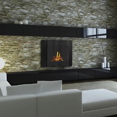 Black Wall Fireplace - City - Clean Flames