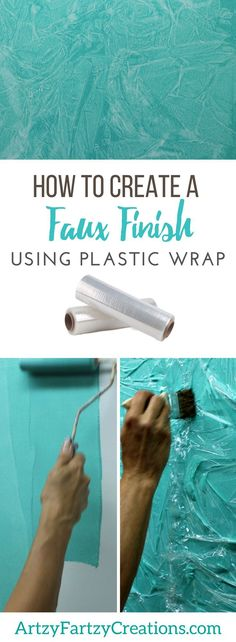 How to create a faux finish using plastic wrap | Free tutorial on how to DIY Faux Finish using Common Household Items by pro painter Cheryl Phan of ArtzyFartzy Creations | Great Inexpensive Accent Wall Ideas to add texture and dimension