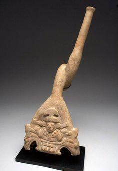 Elaborate Moche Pottery Trumpet - Ai Apec