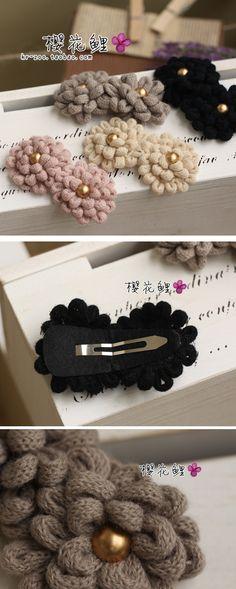 handmade flower clips with yarn