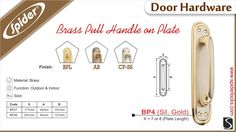 BRASS PULL HANDLE ON PLATE - BP4 SIL.GOLD