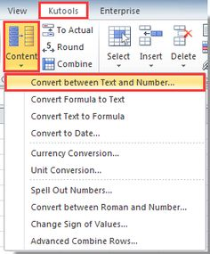 Convert between text and number