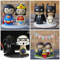 Achei uma graça esse bonecos de bolo da Genefy Playground! Ideal para os casamentos moderninhos com um estilo nerd. Via Follow The Colours