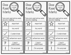 Close Reading Markings bookmarks freebie