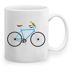 Bicycle Parrot Mug ($19) ❤ liked on Polyvore featuring home, kitchen & dining, drinkware, ceramic mugs and bicycle mug