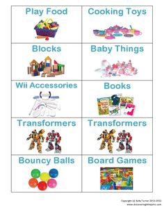 7 Best Images of Toy Organization Labels Printable - Free Printable Toy Labels, Free Printable Preschool Toy Labels and Free Printable Labels Toy Storage Girls Room Organization, Toy Organization, Printable Organization, Toy Bin Labels, Cooking Toys, Baby Toy Storage, Organizing Labels, Organising, Preschool Toys
