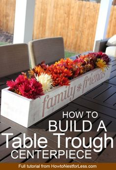 How to build a table trough centerpiece! Change out the flowers for every season too. How to build a table trough centerpiece! Change out the flowers for every season too. Pallet Crafts, Diy Wood Projects, Diy Projects To Try, Woodworking Projects, Woodworking Workbench, Fine Woodworking, Woodworking Workshop, Sketchup Woodworking, Fall Projects