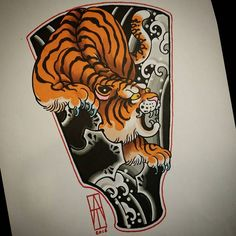 Tiger Gunbai! Small Japanese flash available for tattooing :) I've put dots for you @reclaimthedots