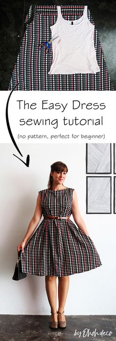 The easy dress sewing tutorial, no pattern perfect for beginner. Informations About The easy dress Dress Sewing Tutorials, Dress Sewing Patterns, Easy Sewing Projects, Sewing Projects For Beginners, Sewing Patterns Free, Free Sewing, Sewing Hacks, Clothing Patterns, Sewing Tips