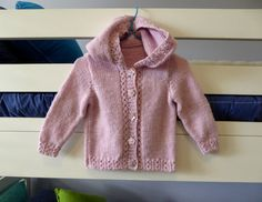 Baby hand knitted pink hooded jacket, to fit girl about 3-6 months - pinned by pin4etsy.com