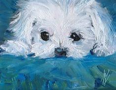 "Daily Paintworks - ""Maltese / puppy portrait"" - Original Fine Art for Sale - © Annette Balesteri Maltese Dogs, Havanese Dogs, Portrait Sketches, Dog Paintings, Dog Portraits, Acrylic Art, Fine Art Gallery, Dog Art, Animal Drawings"