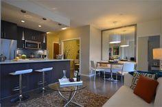 A warm & cozy space inside The One, a condo at 38 W 1st Ave #FalseCreek, #Vancouver #BC  | #kitchen #livingroom #smallspace www.krynitzki.com