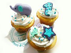 Baby boy cupcakes, first birthday, Elephant cupcakes