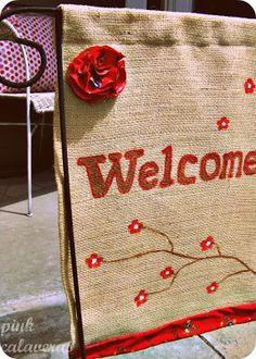 pink calaveras: Welcome Garden Flag