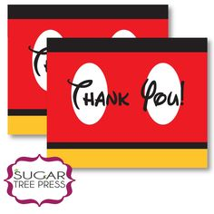 45Mickey Mouse Inspired Birthday Thank You Card by SugarTreePress